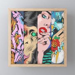 Dope Colorful four panels of animal, human skulls and robots illustration Framed Mini Art Print