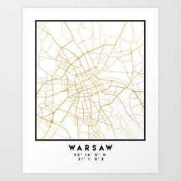 WARSAW POLAND CITY STREET MAP ART Art Print
