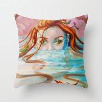 siren Throw Pillows featuring Siren  by Amanda Sharples Illustration