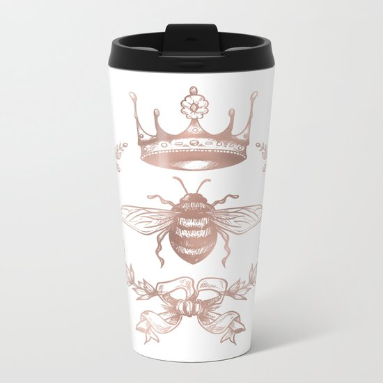 Queen Bee in Rose Gold Pink Metal Travel Mug