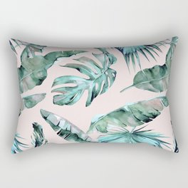 Tropical Palm Leaves Turquoise Green Coral Pink Rectangular Pillow