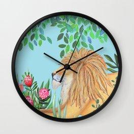 lion, jungle tropical rain forest zen botanical Wall Clock