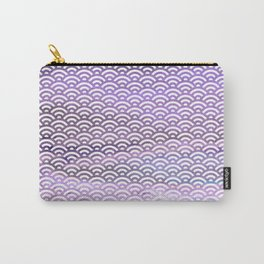 Black/Lavender/Purple/Indigo Watercolor Seigaiha Pattern Carry-All Pouch