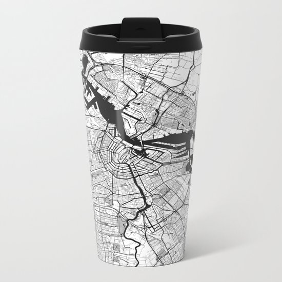 Amsterdam Map Gray Metal Travel Mug