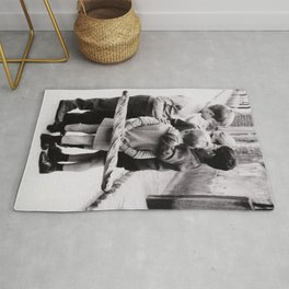 The Gangs of Paris, Little Boys with Morning Baguettes black and white photography - black and white photographs Rug