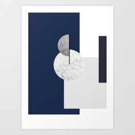 Blue and Marble Art Print