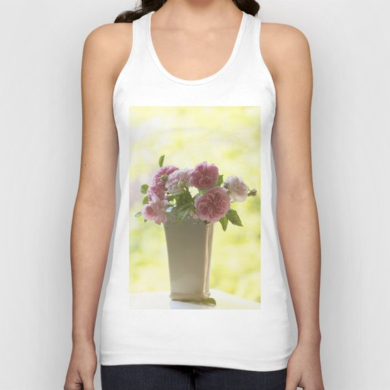 Pink English Roses in a vase- Vintage Rose Stilllife photography Unisex Tank Top
