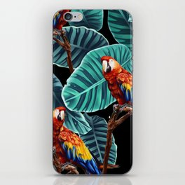 tropical leaves macaw pattern 2 iPhone Skin