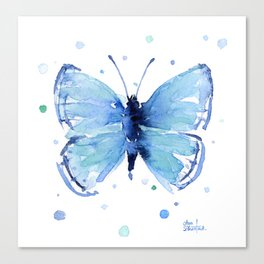Blue Butterfly Watercolor Canvas Print