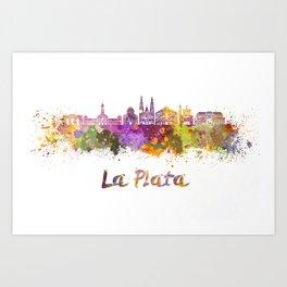 La Plata skyline in watercolor Art Print