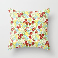 White Floral Pattern Throw Pillow