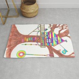 Magical Rainbow Treehouse for Girls Rug