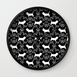 Basset Hound floral silhouette dog pattern minimal black and white pet portraits Wall Clock