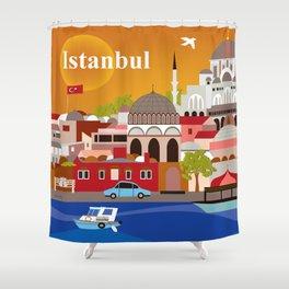 Istanbul, Turkey - Skyline Illustration by Loose Petals Shower Curtain