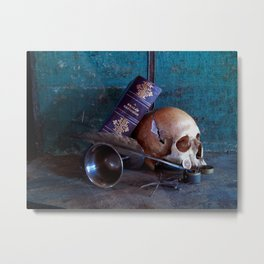 Skull in dark setup 3 Metal Print