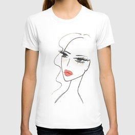 Red lips girl portrait T-shirt