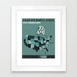 US Population Map Framed Art Print