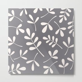 Assorted Leaf Silhouettes Cream on Grey Metal Print