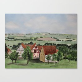 Swabian landscape with timbered houses Canvas Print