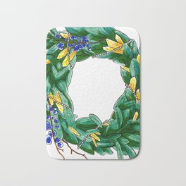 Seasonal wreath with bayberry, citrine and pearls Bath Mat