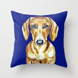 Red Dachshund Portrait Throw Pillow