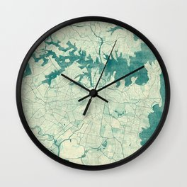 Sydney Map Blue Vintage Wall Clock