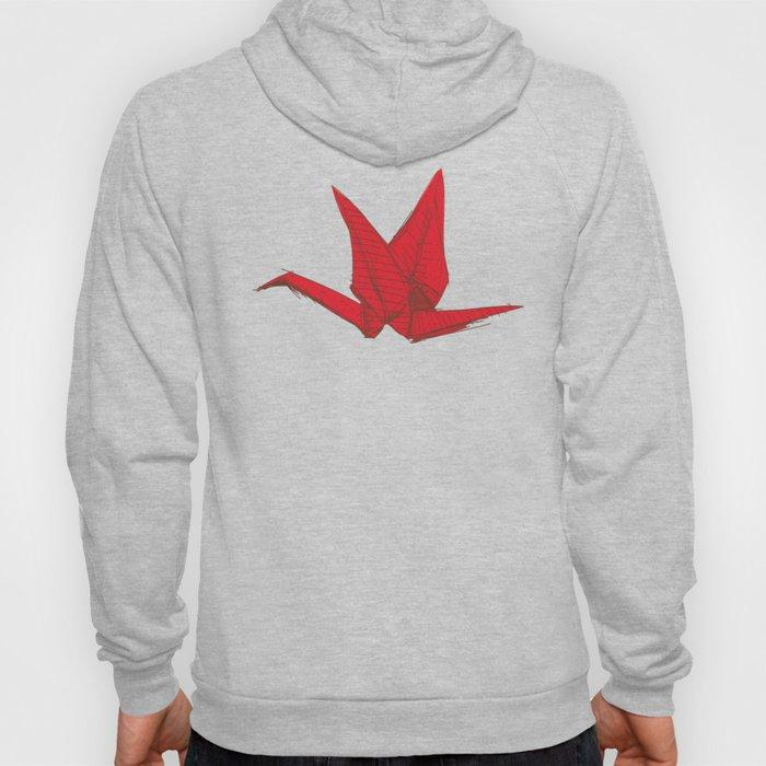 Origami red paper cranes sketch. burgundy maroon line Nature oriental Hoody
