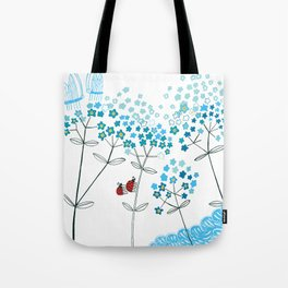 Ladybirds and butterflies and Forget-me-not Tote Bag