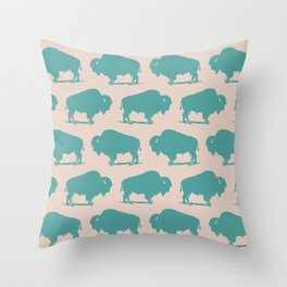 Buffalo Bison Pattern Turquoise and Beige Throw Pillow