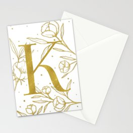 Letter K Gold Monogram / Initial Botanical Illustration Stationery Cards