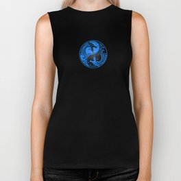 Blue and Black Yin Yang Dragons Biker Tank