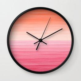 Orange Sunset on Pink Ocean Minimalist Painting Wall Clock