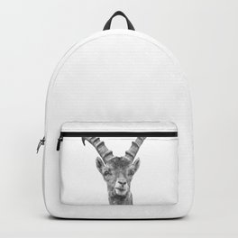 Black and white capricorn animal portrait Backpack