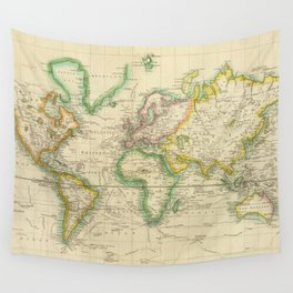 Vintage Map of The World (1814) Wall Tapestry
