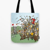 vikings Tote Bags featuring Attack of the Vikings!  by brittonandbaer