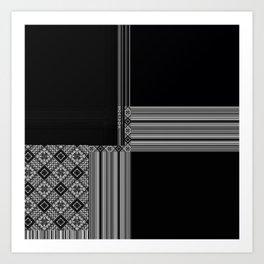 Multiple Black White Geometric Patterns Art Print