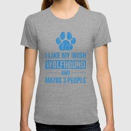 I Like My Irish Wolfhound And Maybe 3 People wb T-shirt