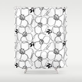 Black Floral Pattern On White Background Shower Curtain