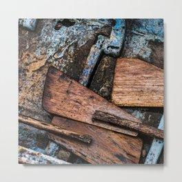 Wooden Boat Paddles Metal Print