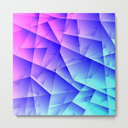 Bright fragments of crystals on irregularly shaped pink and blue triangles. Metal Print