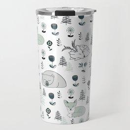 Sleepy Woodland Animals - Mint Travel Mug