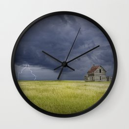 Thunderstorm on the Prairie Wall Clock