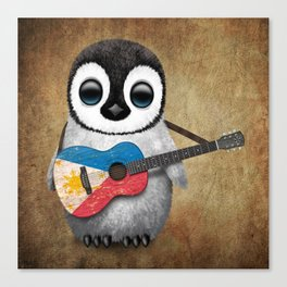 Baby Penguin Playing Filipino Flag Acoustic Guitar Canvas Print
