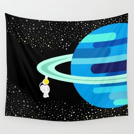 Space Odyssey | Astronaut & Planet | Space | Saturn | Galaxy | pulps of wood Wall Tapestry