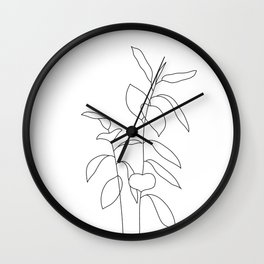 Plant one line drawing illustration - Ellie Wall Clock