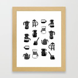 Coffee linocut foodie gifts for third wave coffee lover black and white pattern Framed Art Print