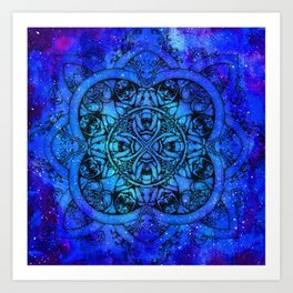 Doctor Who Clockwork Droid Mandala x Watercolor Nebula Art Print