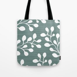 Greenery Leaves on Jade Tote Bag
