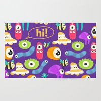 monsters Area & Throw Rugs featuring monsters by Ceren Aksu Dikenci