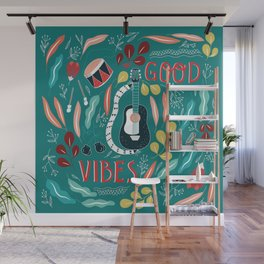 Good vibes - green Wall Mural